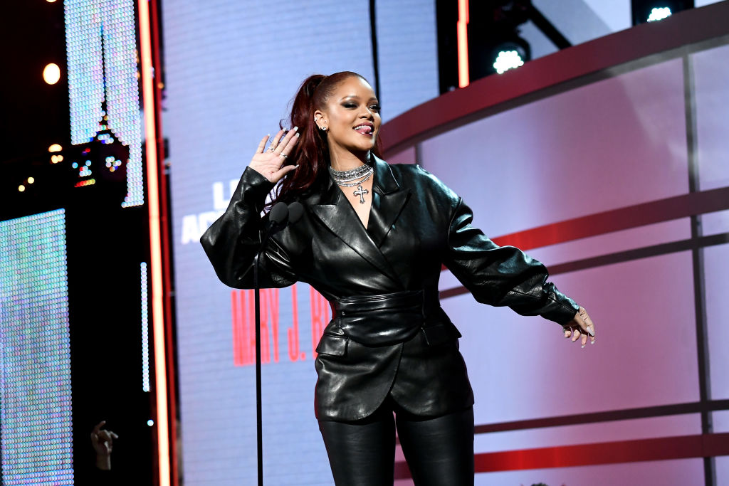 Rihanna speaks onstage at the 2019 BET Awards-1157881688