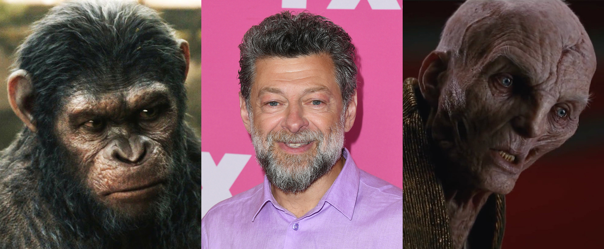 Actor Andy Serkis in the middle, with his role as Caesar on the left and his role as Snoke on the right.
