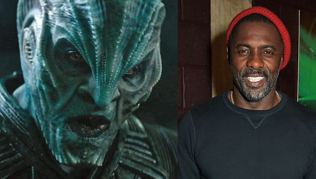 Actor and musician Idris Elba on the right with his Star Trek role, Krall, on the left.