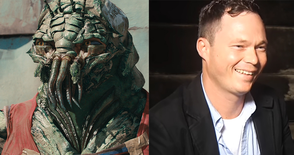 Jason Cope, producer and actor of District 9, on the right, and his role as an alien on the left.
