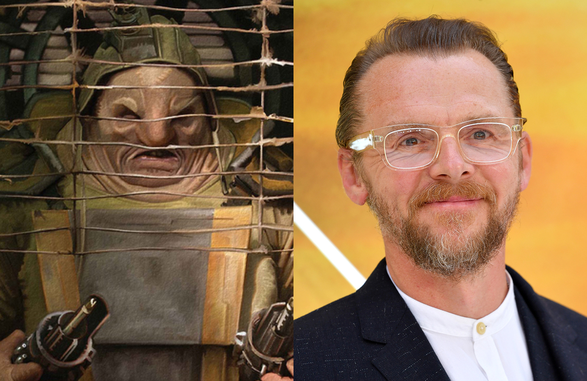 Actor Simon Pegg on the left with his Star Wars: The Force Awakens character, Unkar Plutt, on the left.
