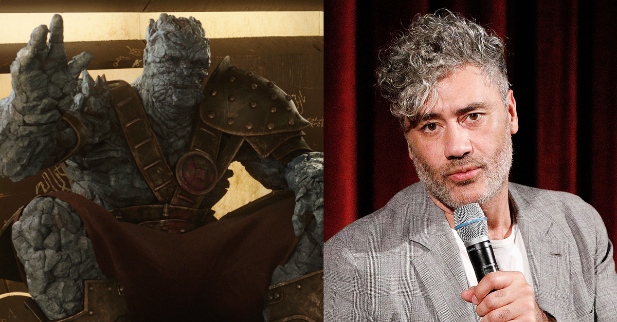 Director and actor Taika Waititi on the right and his character from Thor: Ragnarok, Korg, on the left.