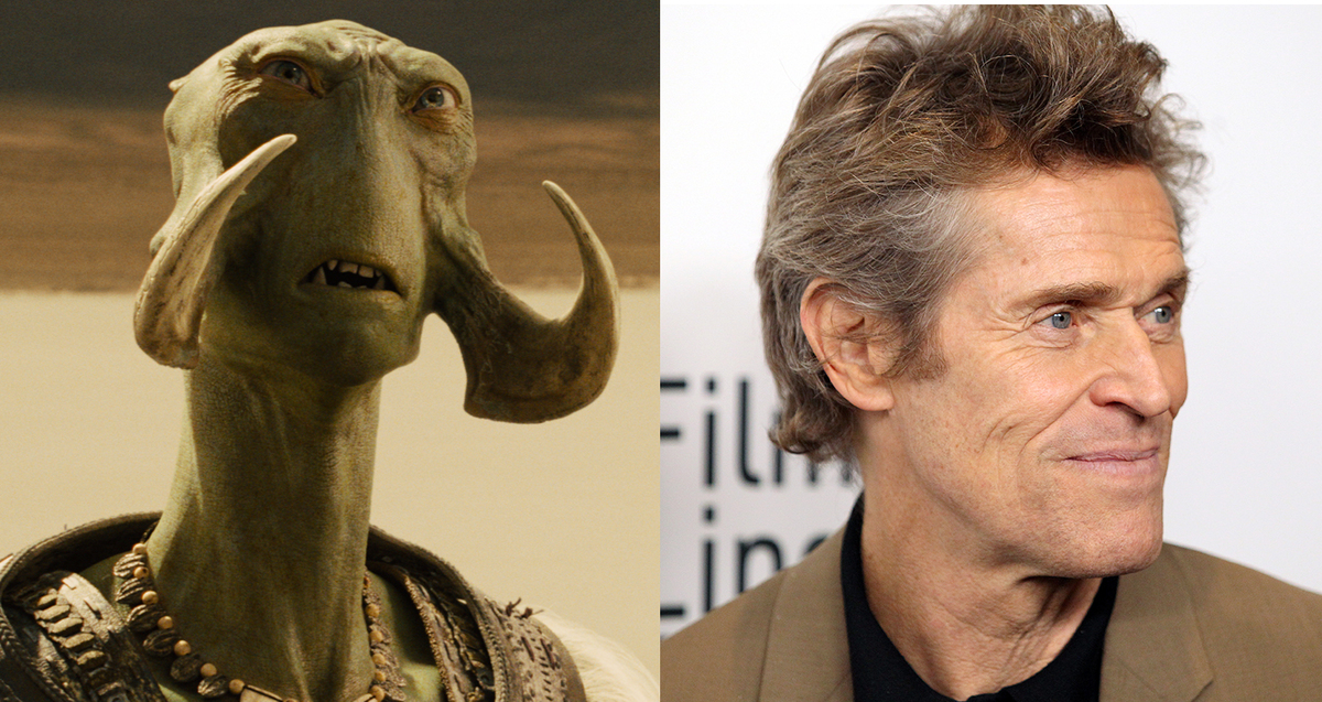 Willem Dafoe on the right and his CGI character Tars Tarkas on the left.