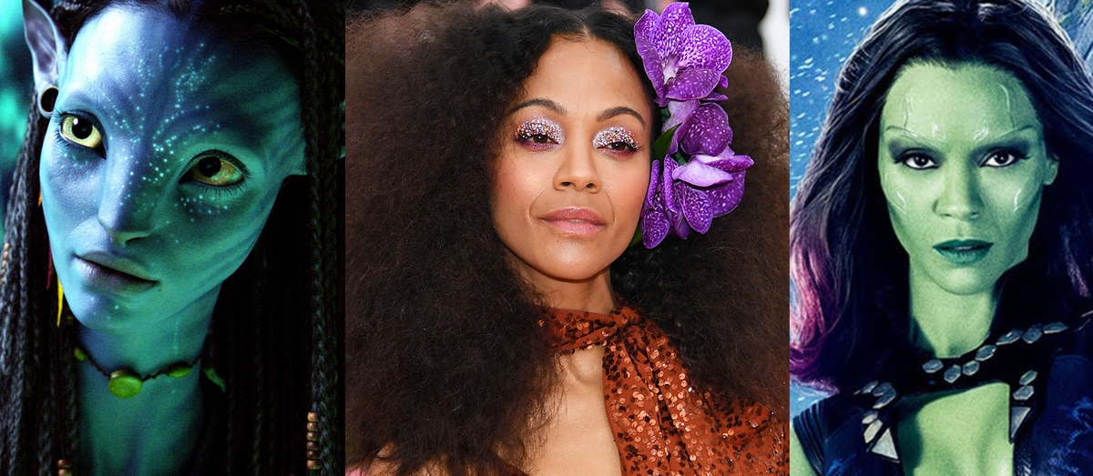 Zoe Saldana in the middle of her two alien roles, Neytiri from Avatar and Gamora from Guardians of the Galaxy